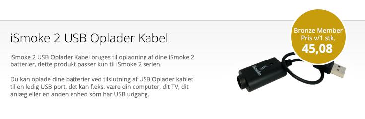 iSmoke 2 USB Oplader samt tilbehør